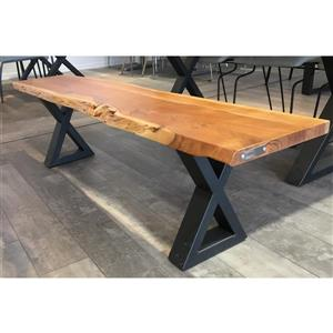 Acacia Live Edge Bench with Black X-legs - 67