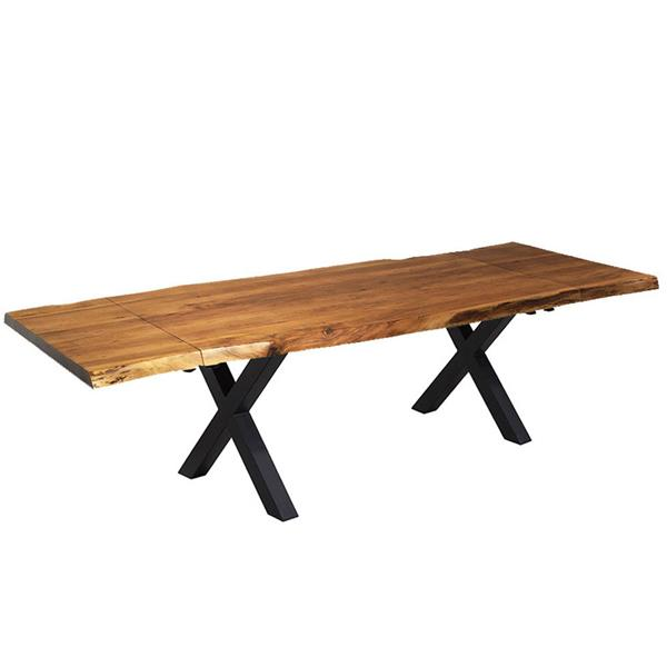 """Corcoran Extendable Acacia Live Edge Table with X-legs 64""""(96"""")"""