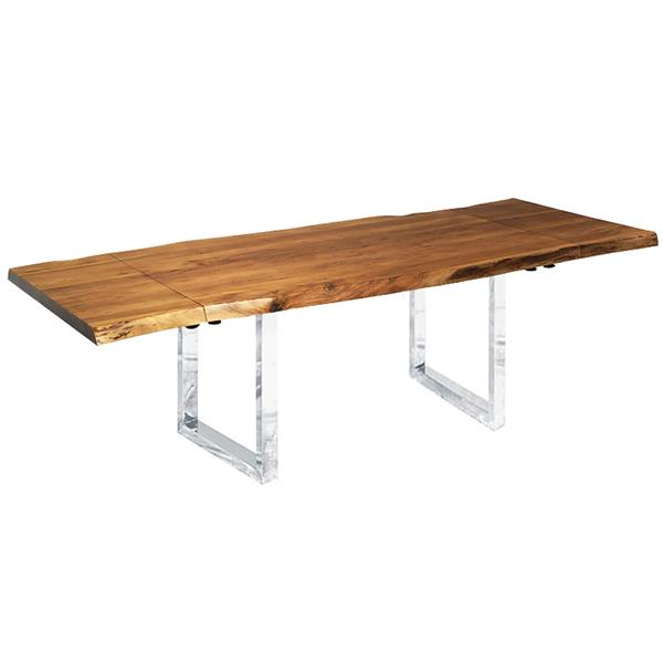 """Corcoran Extendable Acacia Live Edge Table with U-legs - 64""""(96"""")"""