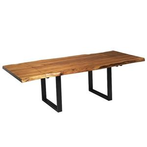 "Corcoran Extendable Acacia Live Edge Table with Black U-les 64""(96"")"