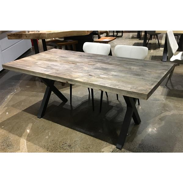 Corcoran Sandblasted Mango Dining Table with Black X-legs - 70""