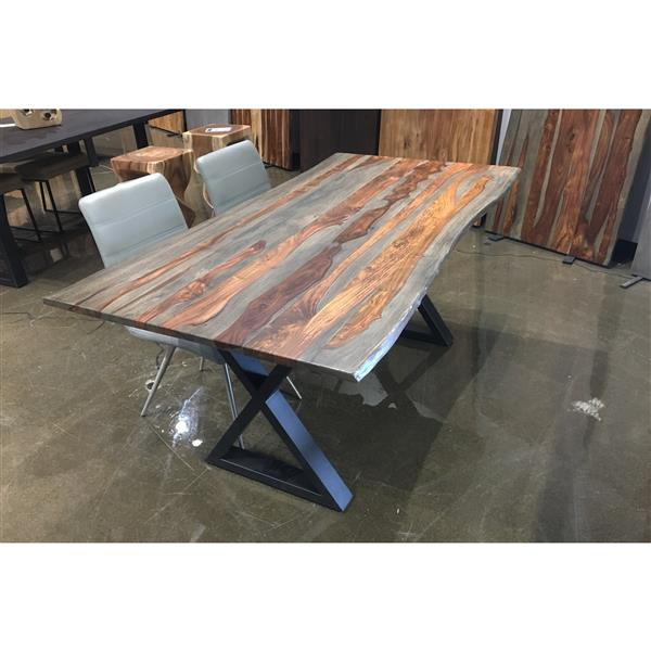 Corcoran Grey Sheesham Live Edge Dining Table with Black X-legs - 67""