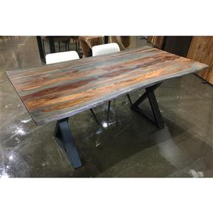 Grey Sheesham Live Edge Dining Table with Black X-legs - 67