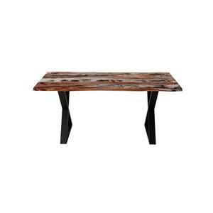 """Table en bois de Sheesham gris avec piètement en X, 67"""""""