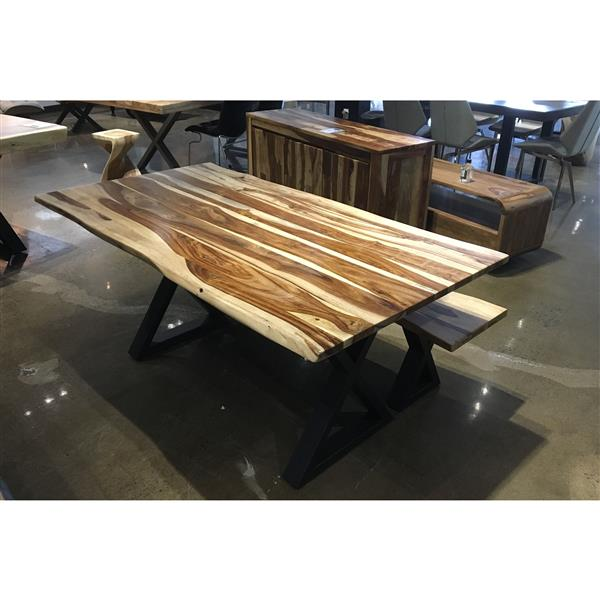 Corcoran Sheesham Live Edge 67'' Dining Table with Black X-legs