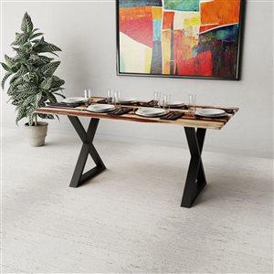 Table 67'' en bois de sheesham avec piètement en X