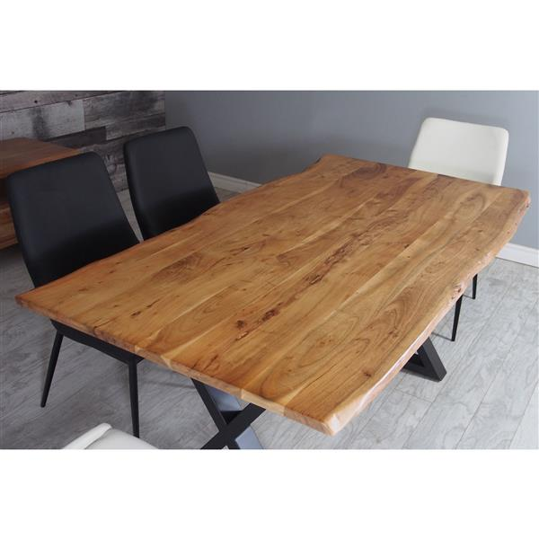 Corcoran Acacia Live Edge Dining Table With Black X Legs 67 Lws 13 Bl Rona