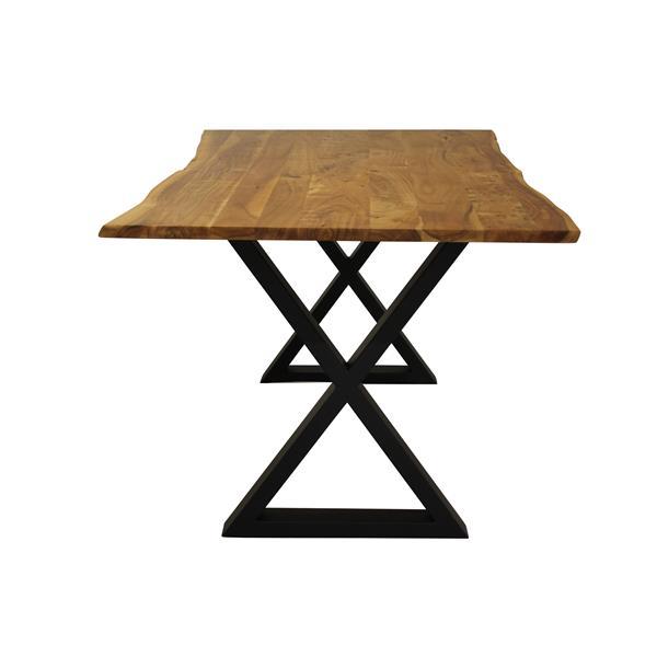 """Table en bois d'Acacia avec piètement en X noir, 67"""""""