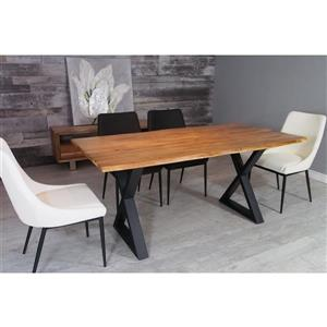 Corcoran Acacia Live Edge Dining Table with Black X-legs - 67""