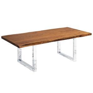 """Table en bois d'Acacia avec piètement en U chrome, 96"""""""