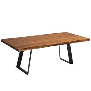 Corcoran Acacia Live Edge Dining Table with Black Victor-legs - 84""