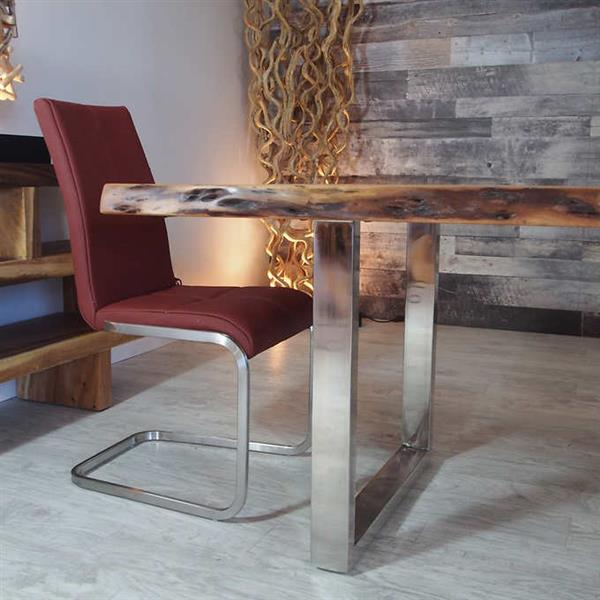 Corcoran Acacia Live Edge Dining Table with Stainless U-legs - 84""