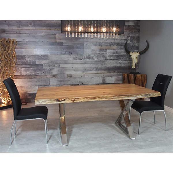 """Table en bois d'Acacia avec piètement en X chrome, 84"""""""