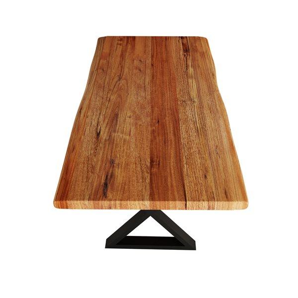 """Table en bois d'Acacia avec piètement en X noir, 84"""""""