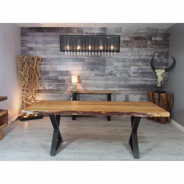 Corcoran Acacia Live Edge Dining Table with Black X-legs - 84""