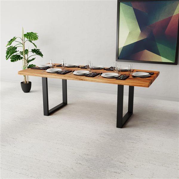 """Table en bois d'Acacia avec piètement en U noir, 84"""""""