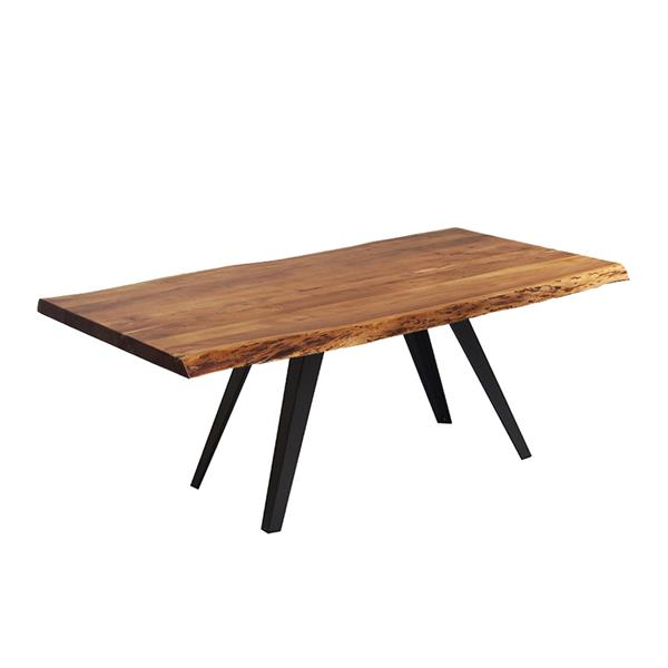 Corcoran Acacia Live Edge Dining Table with Black Victor-legs  - 72""