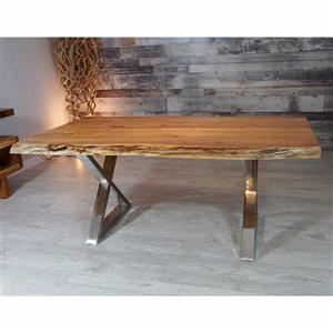 Corcoran Acacia Live Edge Dining Table with Stainless X-legs - 72""