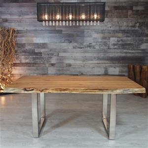 """Table en bois d'Acacia avec piètement en U chrome, 72"""""""