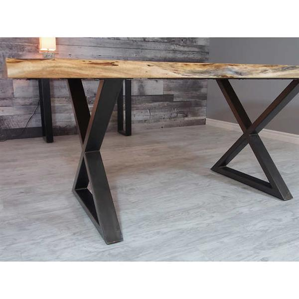 Corcoran Acacia Live Edge Dining Table with Black X-legs - 72""