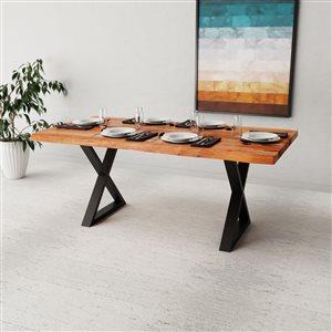 """Table en bois d'Acacia avec piètement en X noir, 72"""""""