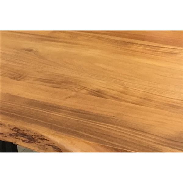 """Table en bois d'Acacia avec piètement en U noir, 72"""""""