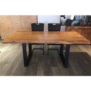 Corcoran Acacia Live Edge Dining Table with Black U-legs - 72""