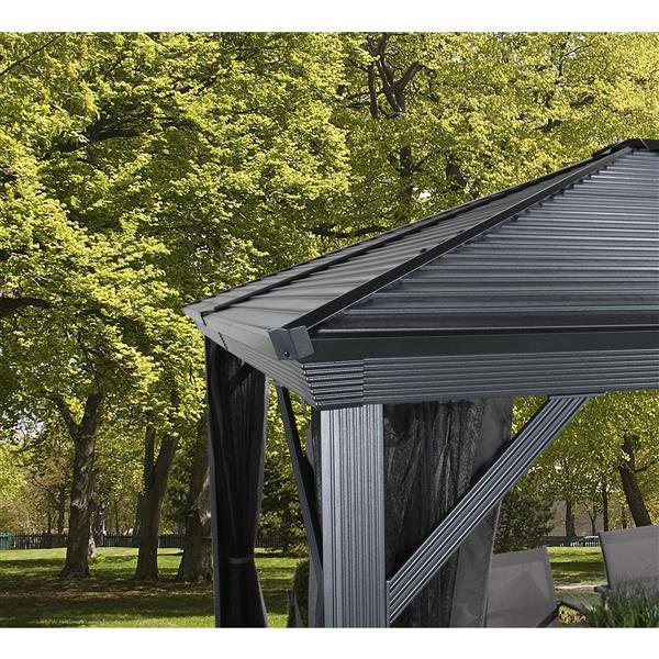 Abri-soleil en aluminium «Ventura», 8' x 8 ', gris foncé