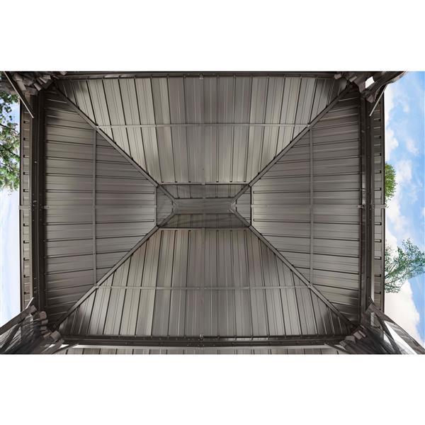 Abri-soleil en aluminium «Genova II», 12' x 14', brun foncé
