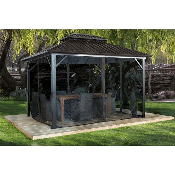 Sojag Genova II Aluminum Sun Shelter - 12-ft x 12-ft - Dark Brown
