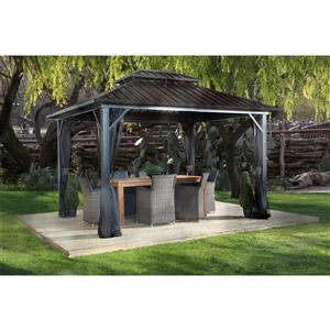 Genova II Aluminum Sun Shelter - 12' x 12' - Dark Brown