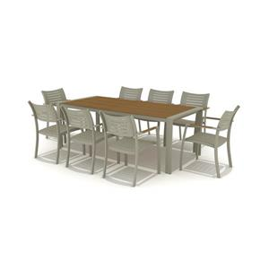 Port Nelson Patio Dining Set - Aluminum - Gray - 9 pcs