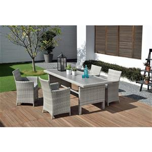 Aruba Patio Dining Set - Wicker - Light Gray - 5 pcs