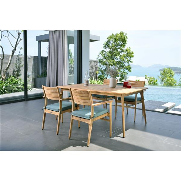 Scancom Eve Patio Dining Set - Wood - Emerald Green - 5 pcs