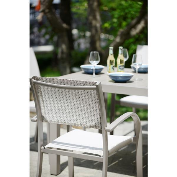 Ens. de repas extérieur Morella, aluminium, platine, 5 mcx