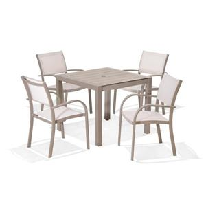 Morella Patio Dining Set - Aluminum - Platinum - 5 pcs