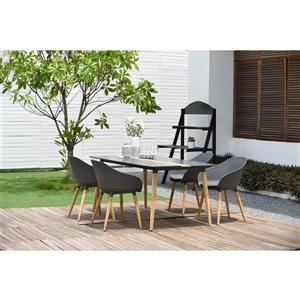 Ipanema Patio Dining Set - Aluminum - Gray - 5 pcs