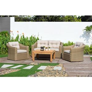 Martinique Patio Set - Teak - Beige - 4 pcs