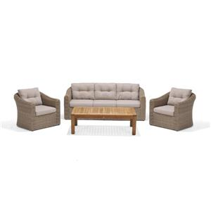 Ensemble de patio Martinique, teck, beige, 4 mcx