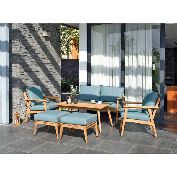 Ensemble de patio Eve, teck, vert emeraude, 6 mcx