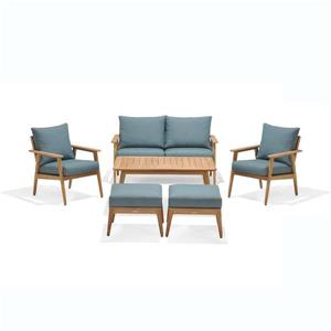 Eve Patio Set - Teak - Emerald Green - 6 pcs