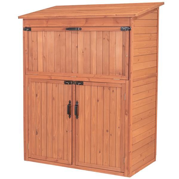 Leisure Season Storage Cabinet with Table - 50'' x 63'' - Cedar - Brown