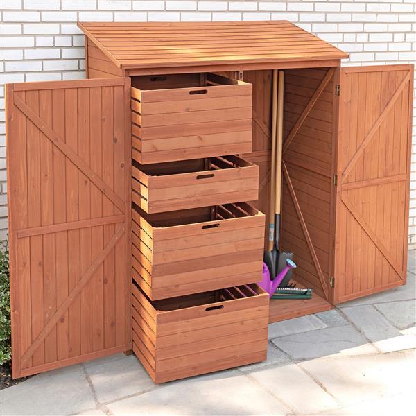 Leisure Season Storage Shed - 59'' x 72'' - Cedar - Brown