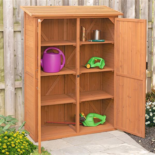 Leisure Season Compartments Storage Cabinet - 49'' x 64'' - Cedar - Brown
