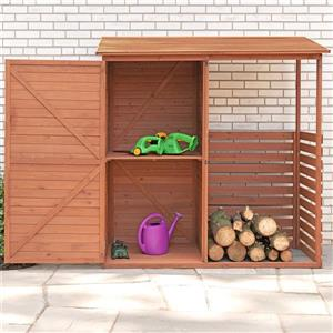 Leisure Season Firewood and Storage Shed - 69'' x 72'' - Cedar - Brown