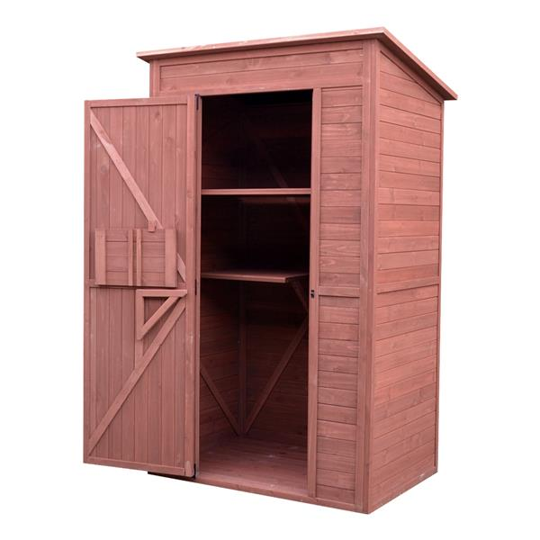 Leisure Season Storage Shed with Drop Table - 48'' x 75'' - Cedar - Brown