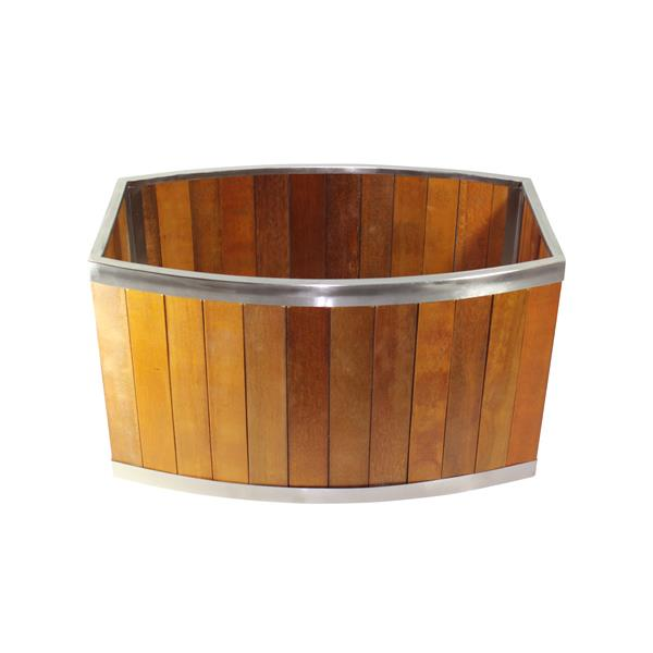 Leisure Season Oval Planter - 28-in x 16-in - Wood - Brown