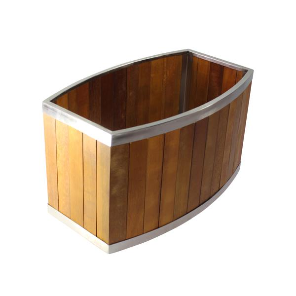 Leisure Season Oval Planter - 32-in x 18-in - Wood - Brown