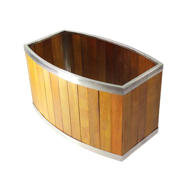 """Jardinière ovale, 24"""" x 14"""", bois, brun"""