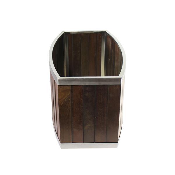 "Jardinière ovale, 16"" x 10"", bois, brun foncé"